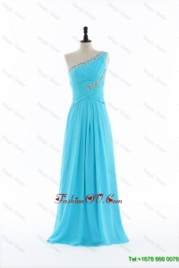 Cheap New 2016 Beading and Ruching Aqua Blue Prom Dresses