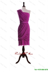 Cheap Ruching and Belt Short Prom Dresses in Fuchsia