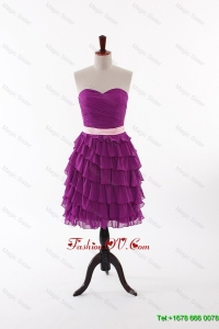 Cheap Short Prom Dresses with Bowknot and Ruffled Layers