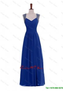 Custom Made Empire Straps Beaded Prom Dresses in Blue for 2016