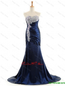 Modest Made Mermaid Royal Blue Prom Dresses with Brush Train