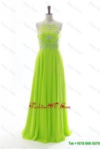Modest New Halter Top Spring Green Long Prom Dresses with Beading