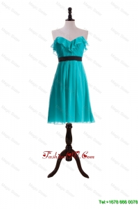 New Style Ruffles and Belt Short Prom Dresses in Turquoise