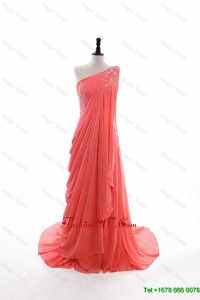 2016 Modest Empire One Shoulder Brush Train Prom Dresses in Watermelon