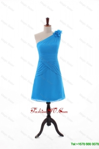 2016 Modest Empire One Shoulder Prom Dresses with Hand Made Flowers