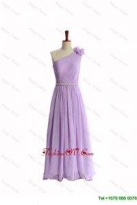 2016 Perfect Hand Made Flower and Belt Lilac Prom Dresses with Brush Train