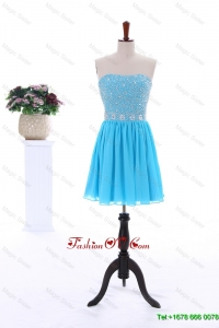 2016 Summer Short Strapless Prom Dresses with Beading in Baby Blue