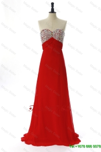 Modest 2016 Winter Beading Red Prom Dresses with Sweep Train