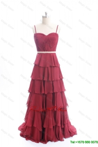 Modest Brush Train Belt and Ruffled Layers Prom Dresses in Wine Red