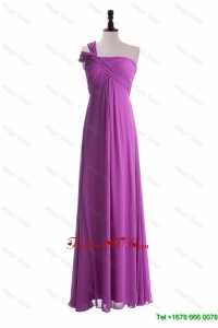 Modest Empire One Shoulder Prom Dresses with Ruching