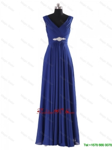 Modest V Neck Beading and Ruching Long Prom Dresses for 2016 Autumn