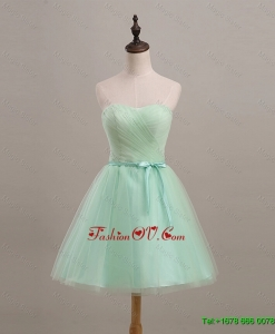 Cheap Ruching and Belt Apple Green Short Prom Dresses for 2016
