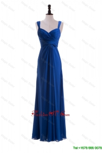 Custom Made Empire Straps Prom Dresses with Ruching in Blue