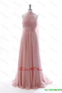 Discout Halter Top Red Prom Dresses with Ruching