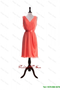 Modest Empire V Neck Prom Dresses with Sashes in Watermelon