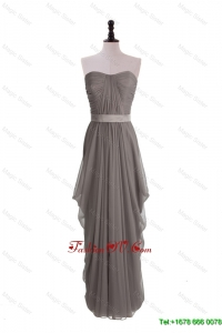 Modest Grey Long Prom Dresses with Ruching and Belt