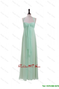 Modest Halter Top Mint Long Ruching Prom Dresses for 2016 Summer