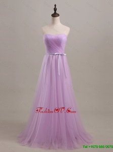 Modest Sweetheart Lilac Long Prom Dresses with Sweep Train