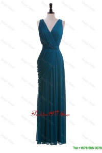 Modest V Neck Belt and Ruching Long Prom Dresses for 2016