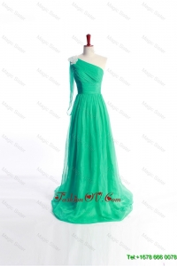 Affordable Appliques Green Long Prom Dress with Sweep Train for 2016