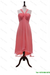 Affordable Halter Top Coral Red Short Prom Dresses with Ruching