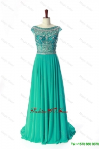 Modest Bateau Beading Brush Train Prom Dress in Turquoise