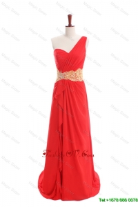 Vintage Appliques and Ruffles One Shoulder Prom Dresses with Sweep Train
