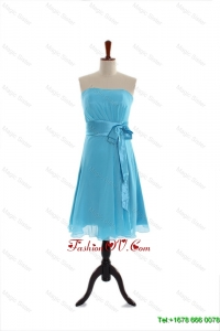 Vintage Belt and Bowknot Short Prom Dress in Aqua Blue for 2016