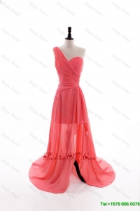 Vintage Column One Shoulder Watermelon Prom Dresses with Ruching