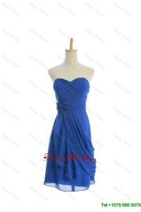 Vintage Made Flowers and Ruching Short Prom Dresses in Royal Blue