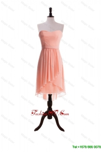 Watermelon Red Sweet Short Prom Dresses with Sashes