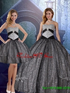 2015 Fall Discount Sweetheart Floor Length Sequined Detachable Quinceanera Dresses with Appliques