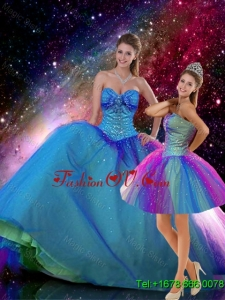 Romantic Ball Gown Sweetheart Beaded Detachable Quinceanera Dresses in Multi Color