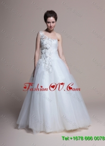 Affordable A Line One Shoulder Appliques Wedding Dresses in Tulle