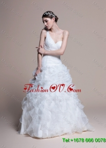 Classical A Line One Shoulder Wedding Dresses with Ruffles