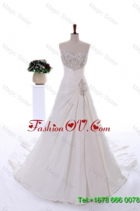 Romantic Embroidery and Beading Wedding Dresses with Court Train