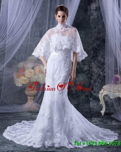 2016 Custom Made Mermaid Strapless Lace Wedding Dresses with Appliques