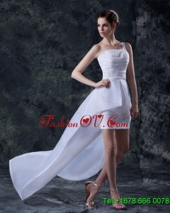 Affordable Column One Shoulder High low Wedding Dresses with Appliques