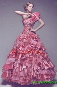 Beautiful One Shoulder Rose Pink Wedding Dresses with Beading and Ruffles