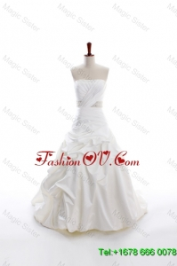 Custom Made A Line Strapless Wedding Dresses with Beading