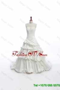 Elegant A Line Strapless Wedding Dresses with Pick Ups for 2016