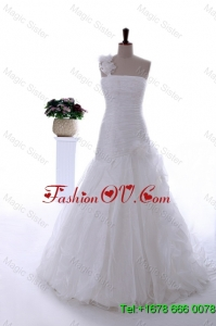 Gorgeous Hand Made Flowers and Ruffles Brush Train Wedding Dresses