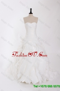 New Style Ruffles Wedding Dresses with Brush Train