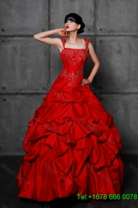 Pretty Princess Taffeta Red Wedding Dresses with Beading and Pick Ups