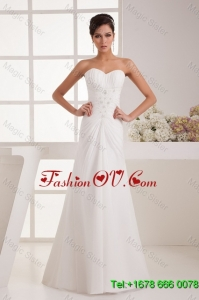 Remarkable Beading White Wedding Dress with Court Train for 2016