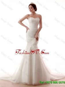 Remarkable Mermaid Hand Made Flowers Wedding Gowns with Court Train