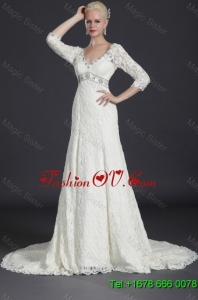 Beautiful Empire Lace White Long Wedding Dresses with Court Train for 2016