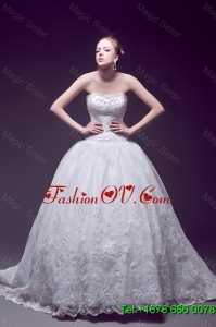 Custom Made Ball Gown Strapless Wedding Dresses with Appliques