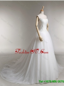 Elegant A Line Strapless Wedding Dresses with Appliques