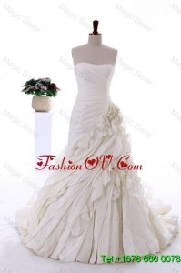 Exquisite Hand Made Flowers and Ruffles Wedding Dresses with Brush Train